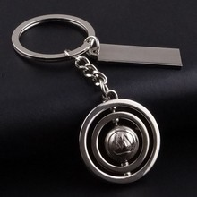 3D 360 Rotating Football Tennis Basketball Keychain Car Key Chain Key Ring plant Keychain  For Promotional Gift wholesale K1008