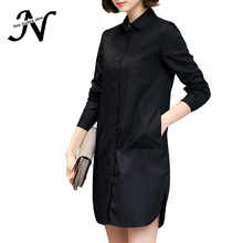 Autumn Shirt Dress Women Korean Style Ladies Short Straight Dress Long Sleeve 2017 New Elegant Dresses Plus Size Women Clothing(China)