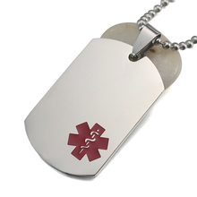 10PCS/Lot Silver Tone Red Stainless Steel Medical Alert ID Blank Dog Tag Pendant Necklace 60CM Long(China)