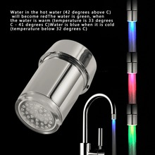 3 Color Change LED Light Faucet Shower Water Tap Temperature Sensor Water Faucet Glow Shower Left Screw with Converter