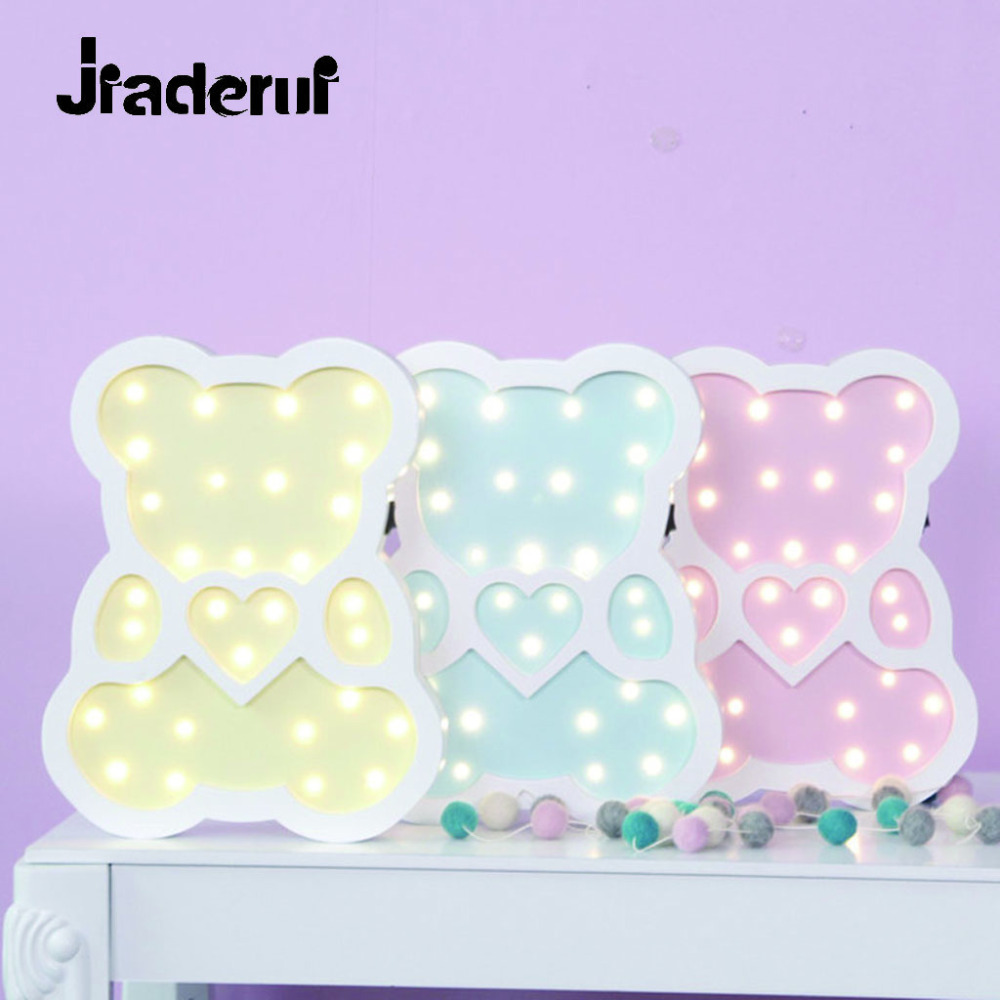 Jiaderui Bear Led NightLight Wooden for Children Gift Animal Cartoon Lamp Bedside Bedroom Living Room Home Decor Indoor Lighting<br>