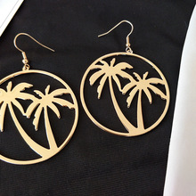 Fashion  Simple Women Coconut Palm Tree Dangle Earring Big Round Circle Drop Earrings Summer Holiday Hawaii Earring jewelry