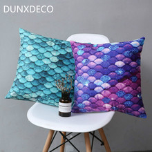 DUNXDECO Cushion Cover Decorative Pillow Case Mermaid Fish Shiny Scales Soft Short Brush Coussin Sofa Chair Decoration