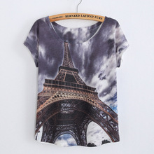2017 Brand New Fashion Spring Summer Harajuku Short Sleeve T Shirt Women Casual Tops Eiffel Tower Print T-shirt White Top Cheap(China)