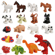 Animal Forest Farm Models Figures Dinosaur Compatible with Duple Toy DIY Building Creative Blocks Children Toy