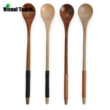 Visual Touch Economical Wooden Spoon Chinese Natural Spoons Tableware Honey Mixing Spoon Stirrer Coffee Tea Stirring Spoon Wood(China)