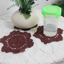 wholesale 12pcs/ lot 13 cm round handmade table mat crochet coasters  cup pad Doily placemat coasters heat insulation pad