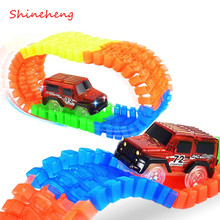 Shineheng Miraculous Track Bend Flex Glow in the Dark Assembly Toy 56/112pcs Race Track + 1pc LED Car