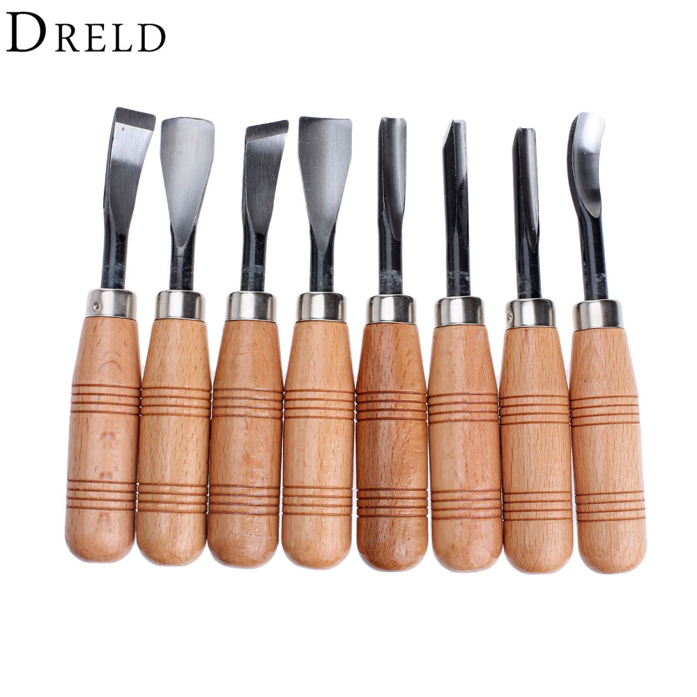 DRELD8Pcs Wood Carving Hand Chisel Set Graving Knife Wood Carving Chisels Knife Woodworking Carpenter Tools Set for Carving Wood<br>