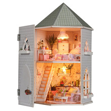 Love Fortress Attic Euro Style DIY Doll house 3D Miniature Light+Wood Handmade kits Building model Toy Home&Store decoration BJD