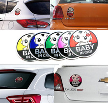 1pcs New 3D Aluminum Baby car stickers ford focus cruze kia rio skoda octavia mazda opel vw audi bmw lada car accessories