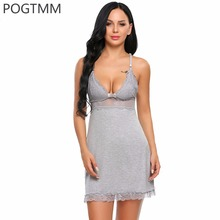 Sexy Transparent Lace Lingerie Erotic Hot Nightwear Sleepwear Women Sex Costume Mini Babydoll Dress Chemise Porn Clothing Nighty(China)
