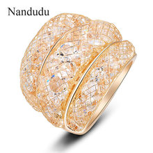 Nandudu Rose Color Ring Wire Mesh AAA Zircon Hot Sale Fashion Rings Accessories Jewelry Gift for Women Lady Girl Party R561(China)