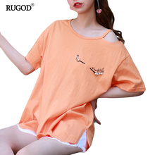 Rugod Candy Color Tee Shirt Femme Split O-neck Short Sleeve t-shirt Womens Tops Fashion Poleras De Mujer Punk Print Back Tshirt(China)