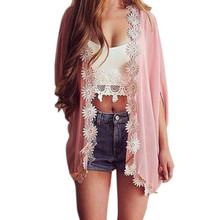 2017 Hot New Marketing Women Ethnic Lace Flower Loose Kimono Cardigan Blouse Tops Tops Camisetas Mujer