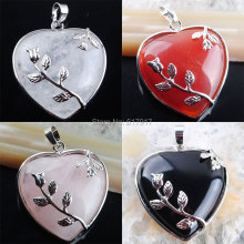 Free shipping Natural Gem Stone Heart Silver Plated Reiki Chakra Pendant Bead Jewelry TBN245