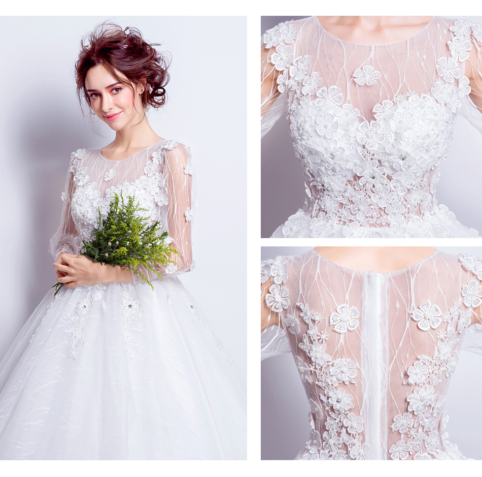 Angel Wedding Dress Marriage Bride Bridal Gown Vestido De Noiva Lace Boat Neck Flower bud silk 2017 6916 11