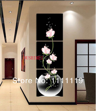 Home Decor Pictures Hand Painted Balck Abstract Painting Modern Flower Picture On Canvas Group Of Wall Oil Paintings