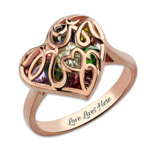 Wholesale Personalized Engraved Name Birthstone Mother's Heart Cage Ring Rose Gold Color