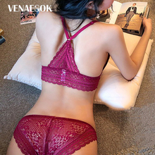 Buy New Fashion Girl Thin Cotton Underwear Sets Women Bras Wire Free Brassiere Seamless Sexy Lingerie Lace Bra Set Embroidery White