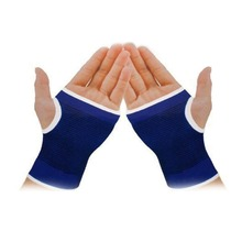 Blue Palm Wrist Hand Support Glove Elastic Brace Sleeve Sports Bandage Gym Wrap(China)