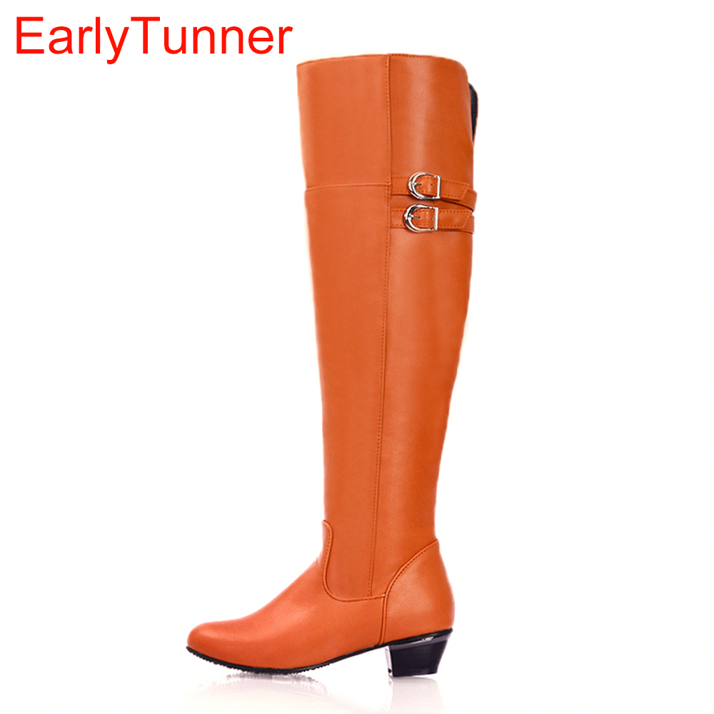 Brand New Fashion Black Brown Orange White Women Over the Knee Thigh High Boots Ladies Winter Shoes AQ2B Plus Big Size 12 30 47<br>