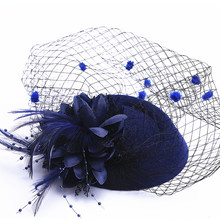 16 colors Fascinator with Feathers and Veiling ladies day Wedding Bridal Party Wedding Brides Hair accessories bride headdress(China)