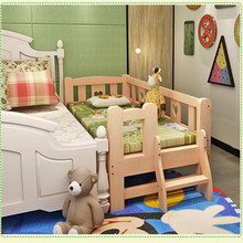 Children Beds Children Furniture solid wood Solid wood boy's girl's bed All sides guardrail ladder whole sale 180*100*40cm new(China)