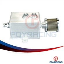 PQY RACING- 1L Aluminum oil catch can tank with breather & drain tap 1LT baffled Natural Finish PQY9491(China)