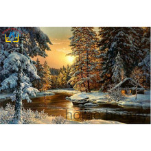 5D diy diamond embroidery painting mosaic Chinese cross stitch crystal dmc picture of rhinestones patchwork snow village AA867(China)