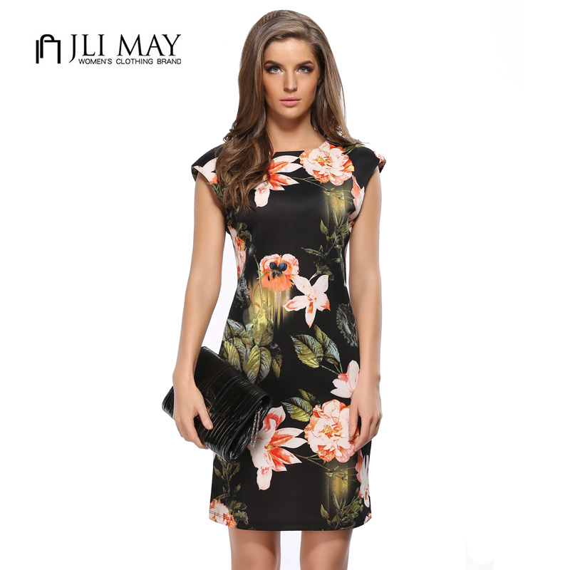 JLI MAY Women sexy pencil dress elegant party office bodycon slim print casual plus size o-neck sheath sleeveless summer dresses