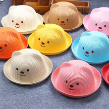 Children Straw Hats Summer Baby Ear Decoration Lovely Toddler Character Girls and Boys Sun Hat Solid Kid Floppy Panama Caps