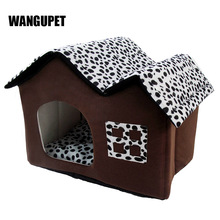 WANGUPET Spot Double Top Dog House Foldable Warm Cat Bed Cages For Dogs PP Cotton Puppy Dog House Soft High Quality Pet House(China)
