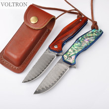 Free shipping VOLTRON goddess V07 folding folding Damascus steel knife 61 HRC outdoor camping survival special EDC hunting knife(China)