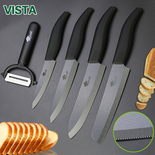 "Kitchen knife Ceramic Knives Cooking set 4""paring 5""slicing 6""chef+6""Serrated Bread Knife Peeler Zirconia Black Blade knife"