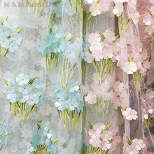 120cm*5yds flower stereoscopic embroidered polyester mesh lace fabric for luxury evening dress,wedding cloth free shipping(China)