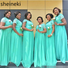 2018 South African Mint Green Long Bridesmaid Dresses Dubai Sheer Crew Neck Short Sleeves Cheap Plus Size Maid of Honor Dresses(China)