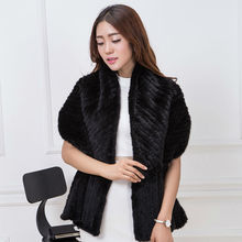 real mink knitted scarf fashion women warm winter fish herringbone shape. Shovel head design girl beautiful scarf Black scarf