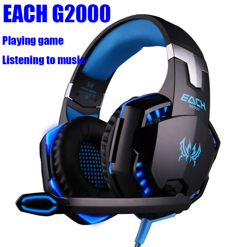 Newest EACH G2000 Deep Bass Game Headphone Stereo Surrounded Over-Ear Gaming Headset Earphone with Light for Computer PC Gamer<br><br>Aliexpress