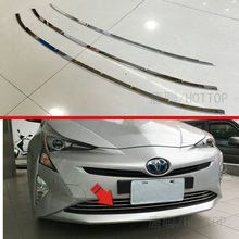 HOTTOP 3Pcs/Set ABS Car Front Grill Trim Strips Cover  Styling Accessorie For Toyota Prius XW50 2016 2017