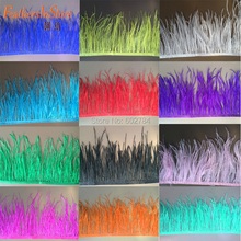 "Free Shipping 2meters 5-6"" 13-15cm width white Ostrich Feather fringe colorful Ostrich feather Trimming Wedding decoration(China)"
