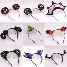 2017 New Sexy Woman Girls Crown Sheep Goat Horn Headband Black Lace Maid Cosplay Headwear Carnival Party Hair Accessories