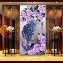 5D diamond Painting crystal Peony flowers Cross Stitch Needlework embroidery Round Rhinestone diy diamond purple peacock 70*125