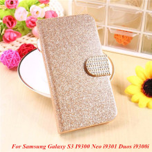Fashion Bling Glitter Luxury Flip Wallet Case For Samsung Galaxy S3 I9300 Neo i9301 Duos i9300i Phone Bag Case(China)