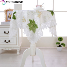 Pastoral Maple Leaf Round Table Cloth Waterproof  Floral Printed Lace Edge tablecloth Dust Cover Tulle coffee Table Cloth