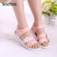 Wholesale 2017 Girls Sandals with Crocuses for Children 2-12 Years Girl Shoes Rivets Sandals Flower School Footwear Kids A04231