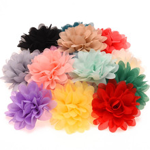 16PCS Chiffon Flowers High Quality Rosette Flowers DIY Flower Bouquet Newborn Hair Accessories No Hair Clips(China)