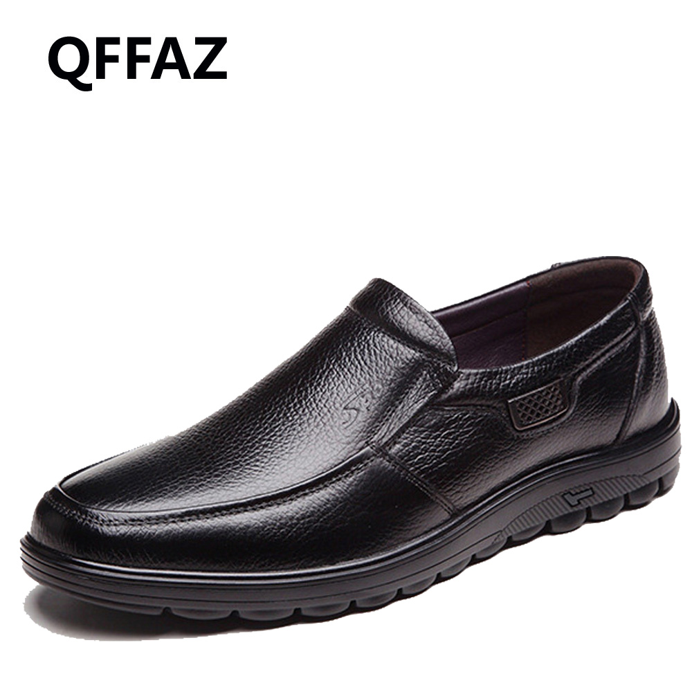 QFFAZ Genuine Leather Autumn Winter Shoes Men Flats Fashion Mens Casual Shoes Brand Man Soft Comfortable casual Warm fur shoes <br>