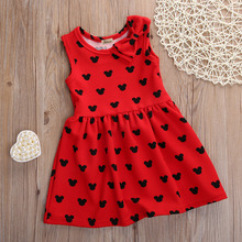 2016 wholesale fashion baby girls toddler party princess kids bow flower sleeveless minnie mouse dress vestidos