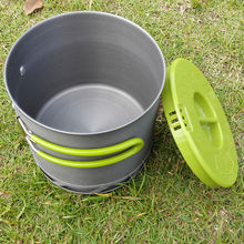 1-2 People Brand Outdoor Camping Tableware Portable Heat Collecting Exchanger Hiking Camping Pot Anodized Aluminum Cookware 1.2L